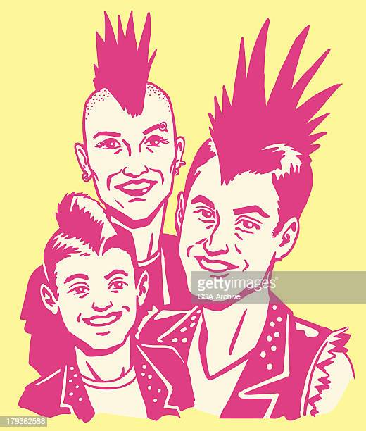 punk rock family - mohawk stock illustrations