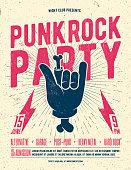 Punk Rock Party Flyer Poster. Vintage styled vector illustration.