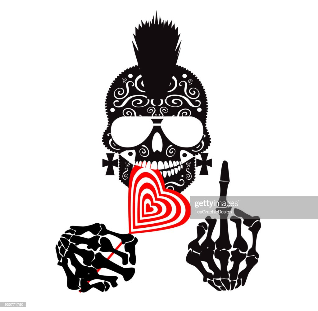 Punk skull icon with middle finger, mohawk and lollipop