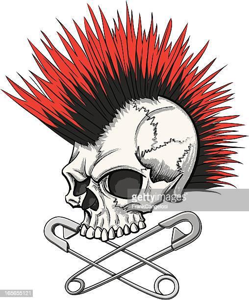 punk skull - mohawk stock illustrations