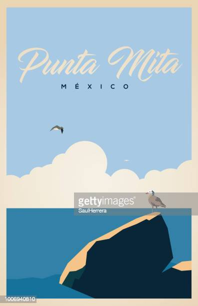punta mita, nayarit méxico. - beach stock illustrations