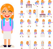 Pupil Girl School Children Student in Different Poses and Actions Teen Characters Kid Icons Set Isolated Education Knowledge Flat Design Vector Illustration