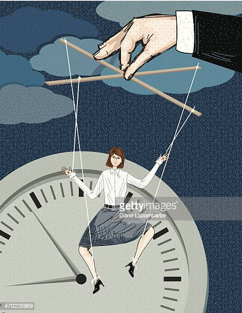 Puppet Businesswoman Controlled By Her Boss