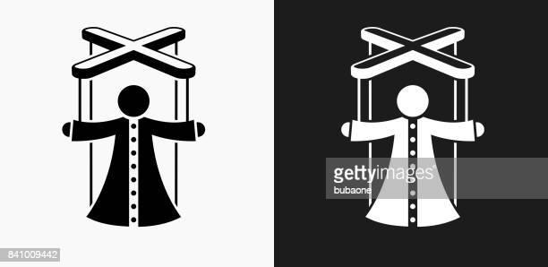 ilustraciones, imágenes clip art, dibujos animados e iconos de stock de marioneta de icono en blanco y negro vector fondos - puppet