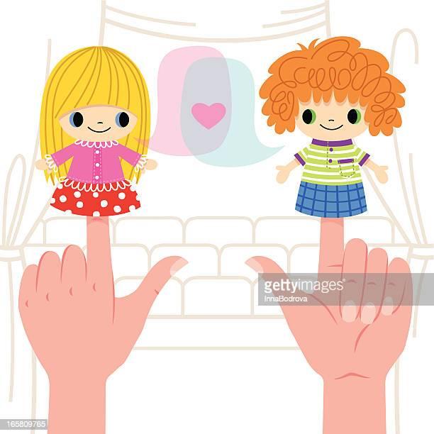 ilustraciones, imágenes clip art, dibujos animados e iconos de stock de espectáculo de marionetas. - puppet
