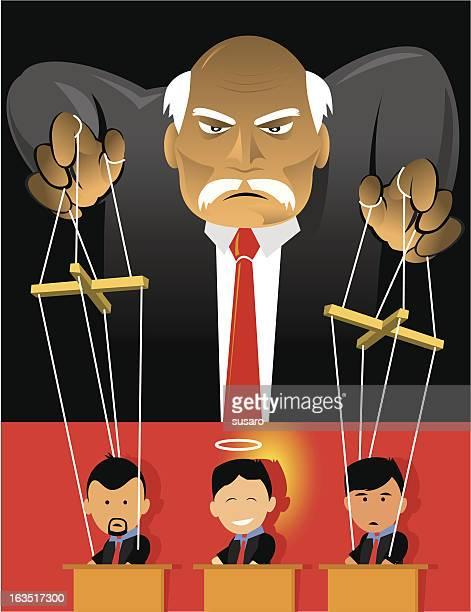ilustraciones, imágenes clip art, dibujos animados e iconos de stock de marioneta de los trabajadores - puppet