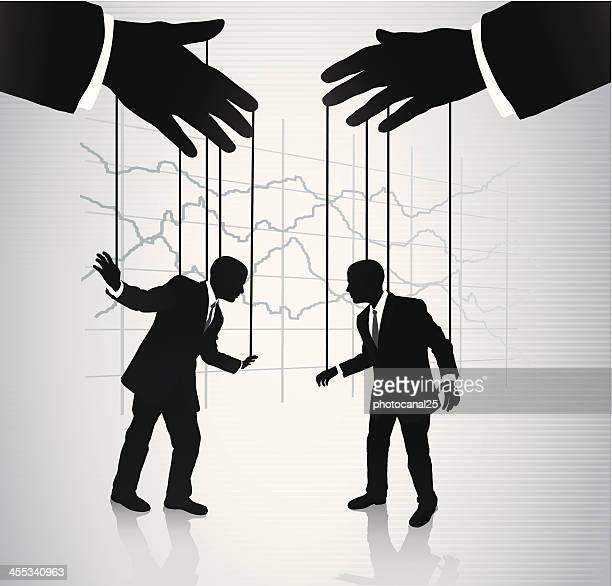 Puppeteer manipulating businessmen