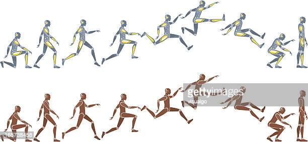 puppets - long jump stock illustrations