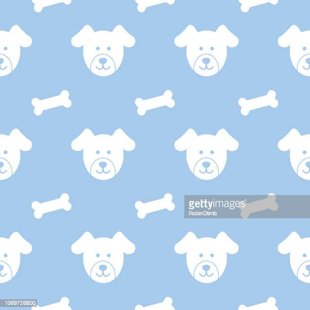 puppies and dog busicuits seamless pattern - dog bone stock illustrations