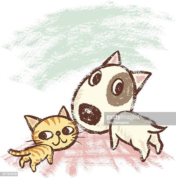 Cachorro y gire alrededor de mascota