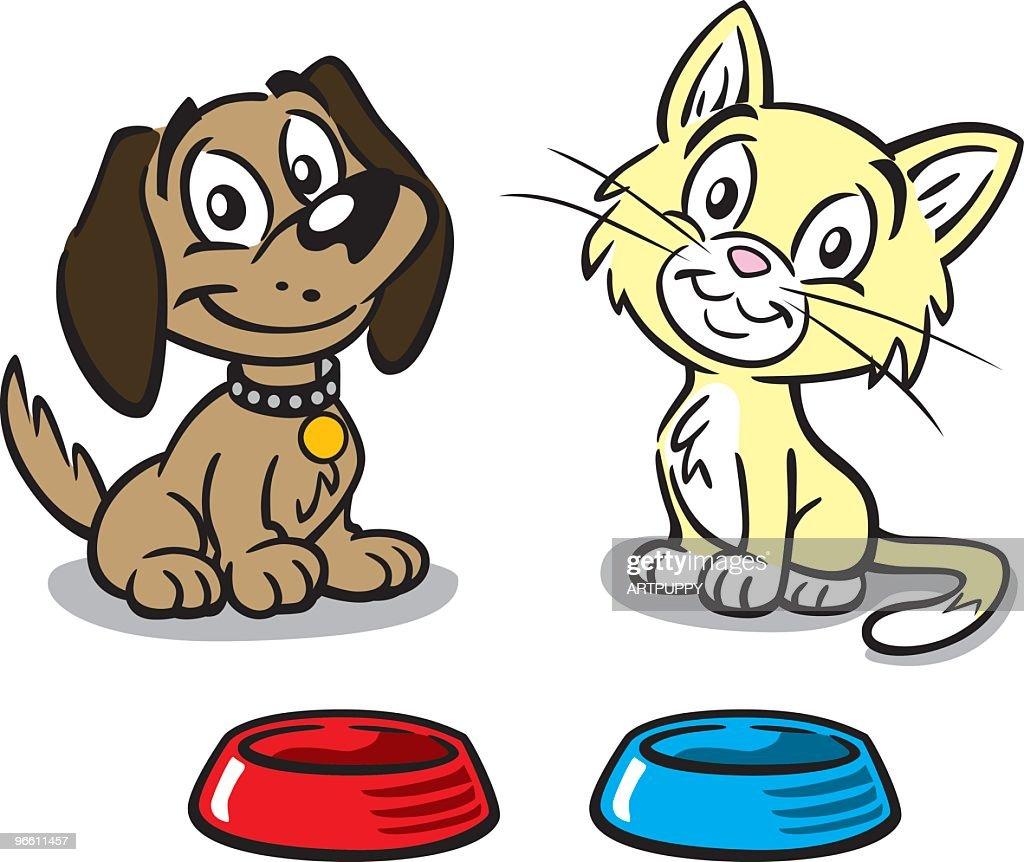 Puppy And Kitten : stock illustration