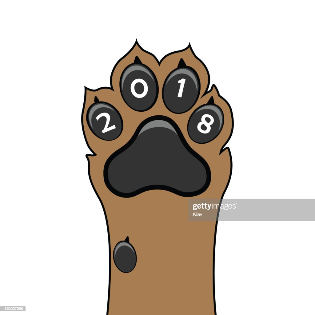 Puppy animal paw tattoo of Chinese New Year of the Dog vector file organized in layers for easy editing.