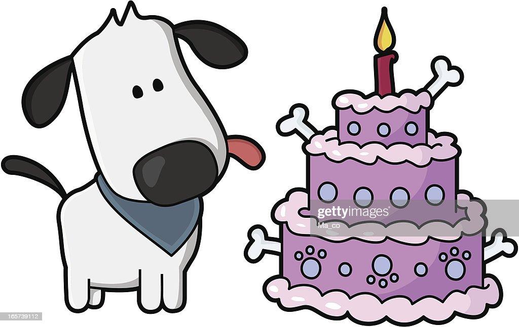 Puppy Birthday With Dog Cake Vector Art