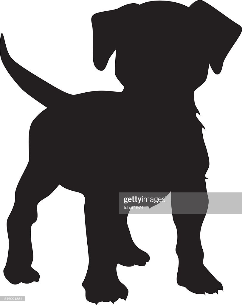 Puppy dog vector silhouette