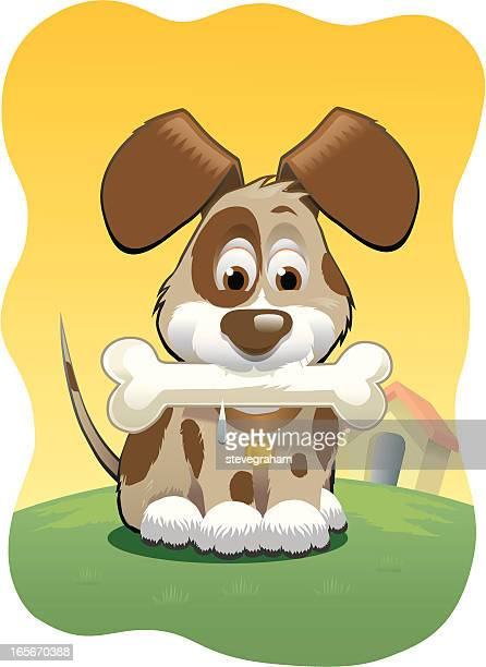 puppy dog with bone - animal saliva stock illustrations, clip art, cartoons, & icons