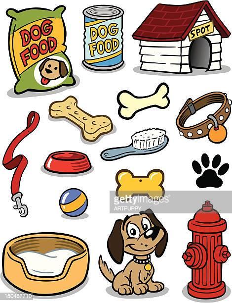 puppy stuff - dog bowl stock illustrations, clip art, cartoons, & icons