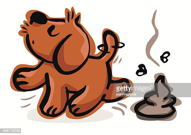 puppy walking after pooped - golden retriever stock illustrations, clip art, cartoons, & icons