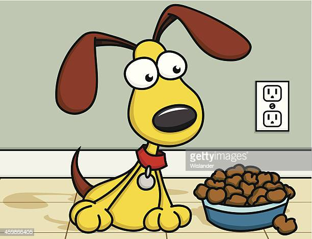 puppy with food - dog bowl stock illustrations, clip art, cartoons, & icons