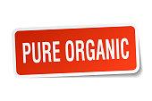 pure organic square sticker on white