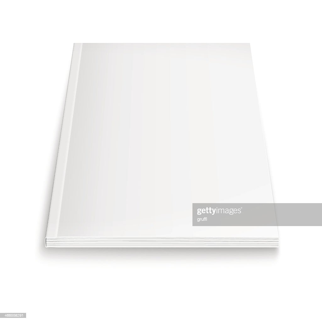 Pure white and blank magazine template with soft drop shadow