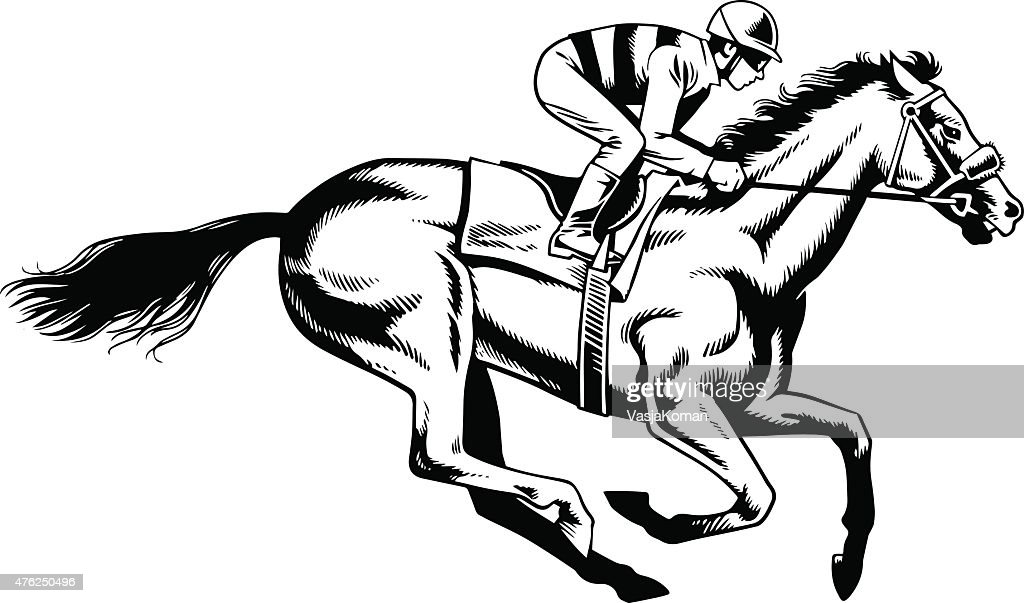 Purebred Horse Racing Black And White Drawing High Res Vector Graphic Getty Images
