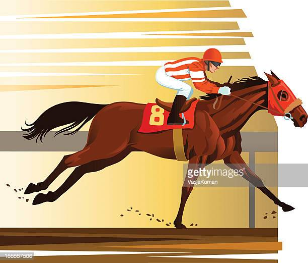 purebred horse winning the race - racehorse stock illustrations