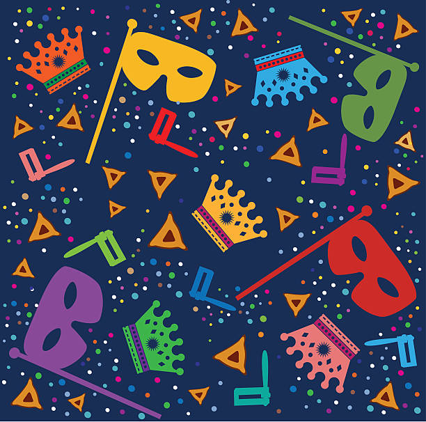 purim background with masks, rattles and hamantaschen - hamantaschen stock illustrations