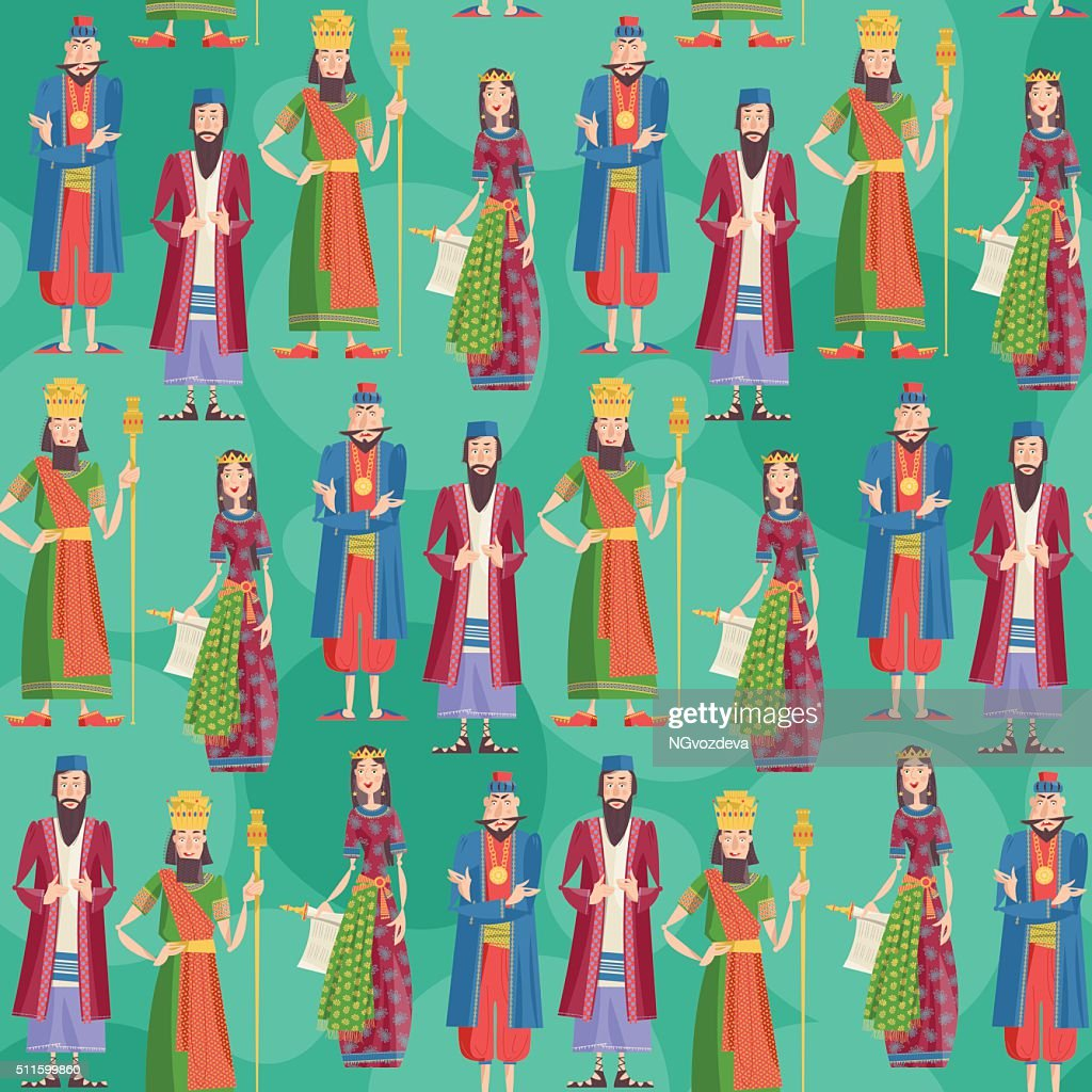 Purim. Book of Esther characters and heroes. Seamless background pattern.