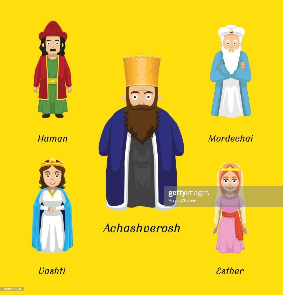 Purim Characters Cartoon Vector Illustration