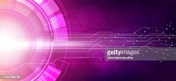 stockillustraties, clipart, cartoons en iconen met paarse abstracte technologie circuit board achtergrond - futuristisch