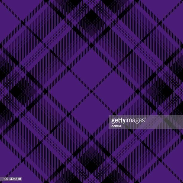 Purple And Black Scottish Tartan Plaid Textile Pattern
