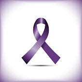 Purple awareness ribbon isolated on white background icon vector graphic design