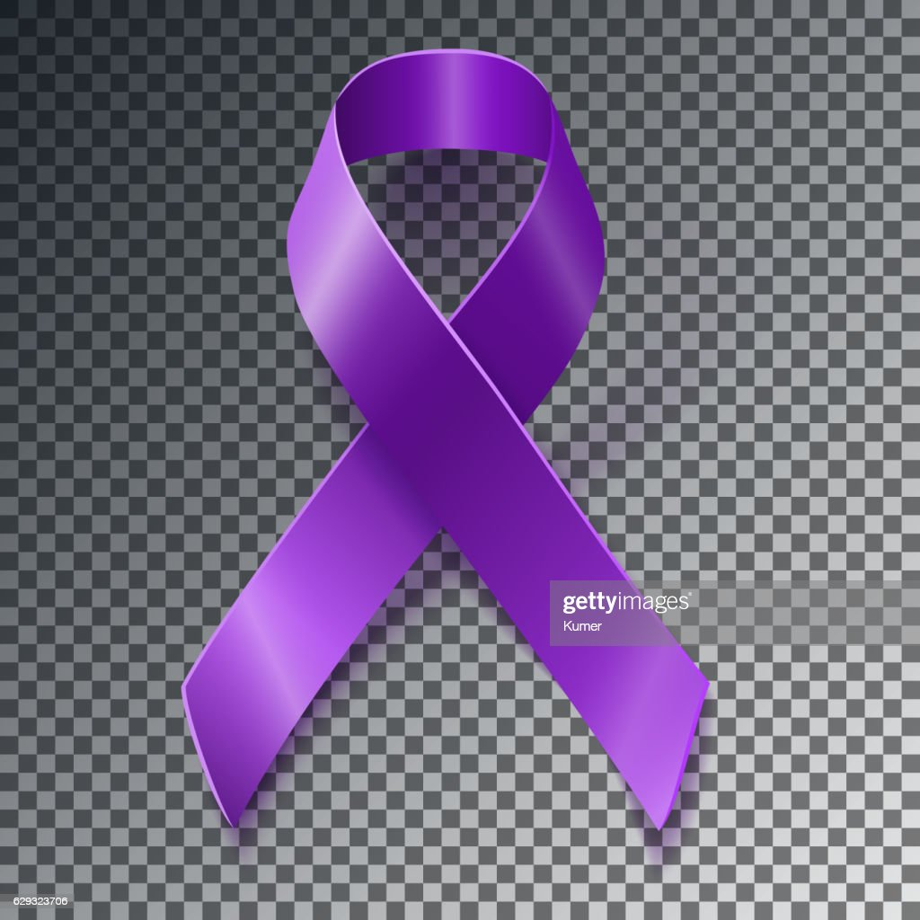Purple awareness ribbon over geometric background