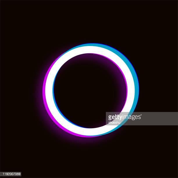 デザインのための紫の青いグリッチスタイルの円パターン - 電子点のイラスト素材/クリップアート素材/マンガ素材/アイコン素材