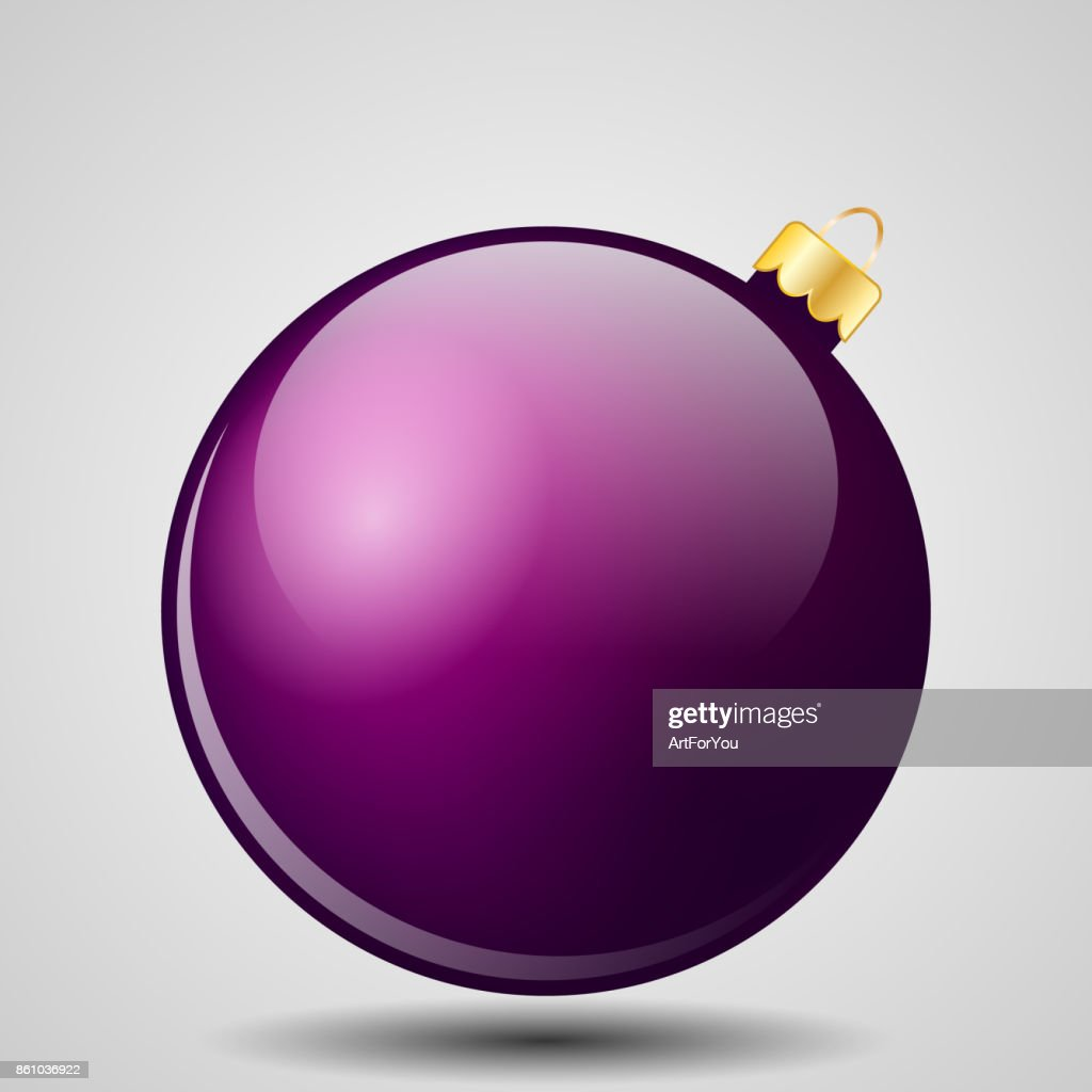 Purple Christmas Ball Isolated on White - Merry Christmas!