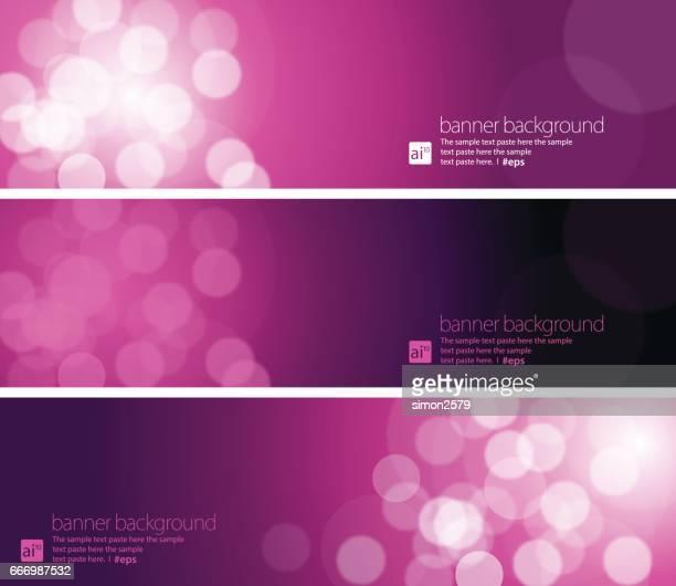 Lila Farbe Hintergrund mit weißen Kreisen Banner-Set verblassen