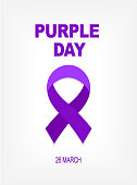 Purple day card 26 march.Purple Ribbon World epilepsy day