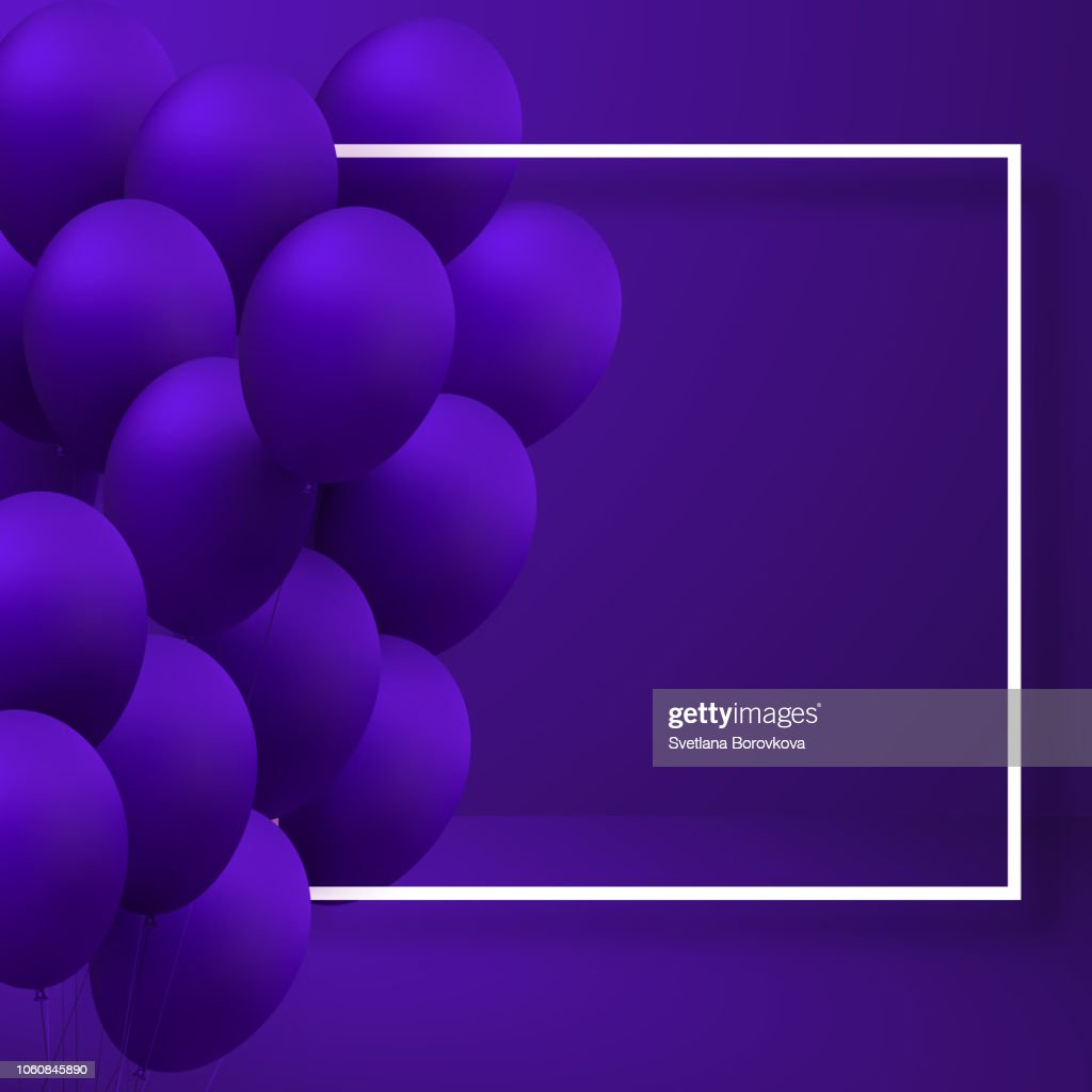 Purple festive background with realistic 3d balloons.