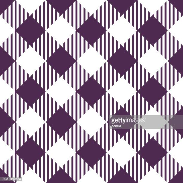 purple gingham argyle pattern background - scottish tweed stock illustrations, clip art, cartoons, & icons