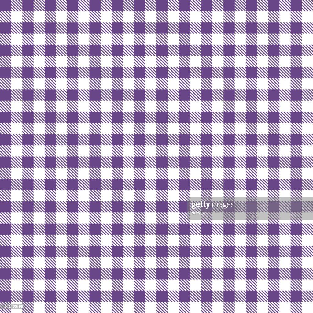 Purple Gingham Cloth Fabric Pattern