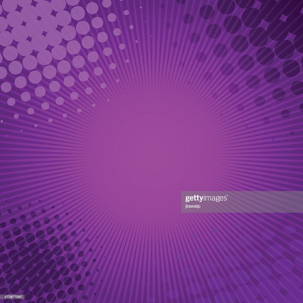 Purple graphic with lines and circles