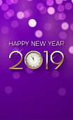 Purple Happy New Year 2019 poster with clock and bokeh effect.