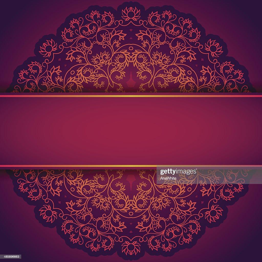 Purple invitation with lace floral ornament