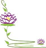 Purple lotus flower icon vector