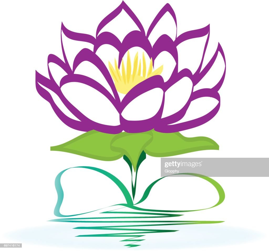 Purple Lotus Flower Icon Vector Vector Art Getty Images