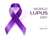 Purple Lupus awareness ribbon isolated on white
