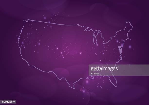 Karte der USA lila auf spacigen Hintergrund