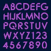 purple neon glowing letters and numbers