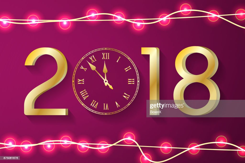 purple new year 2018 concept with realistic christmas lights on sparkles background vector greeting card illustration with gold numbers and vintage clock