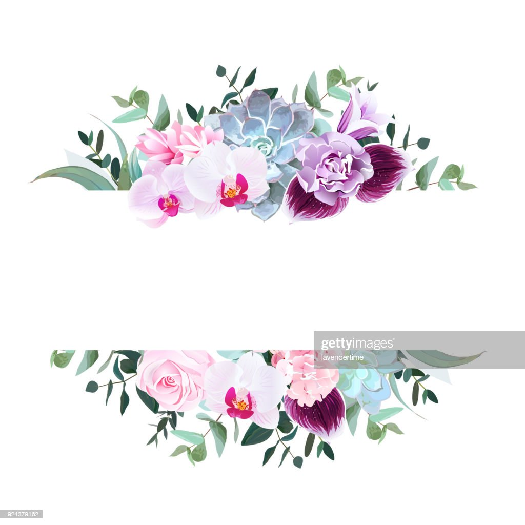 Purple orchid, pink rose, hydrangea, campanula,carnation, succul